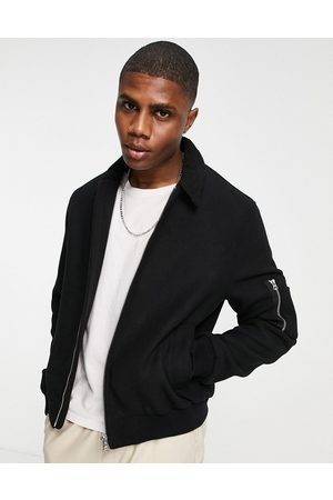 ASOS Muži Bombery - Wool mix bomber jacket with borg collar in black