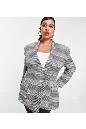 ASOS Ženy Saka - ASOS DESIGN Curve premium moulded hip suit blazer in check-Multi