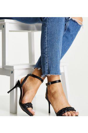 New Look Wide Fit Ženy S otevřenou špičkou - Plaited strappy heeled shoe in black