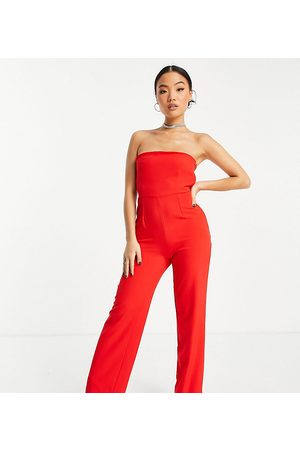Vesper Petite Bandeau jumpsuit with wide legs in red
