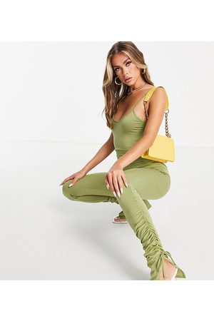 Missyempire Exclusive cami strap jumpsuit with ruched leg detail in olive-Green