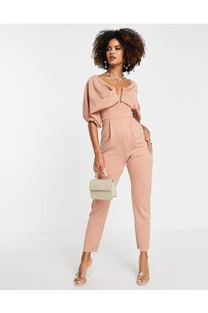 ASOS DESIGN Scuba off shoulder v bar slim leg jumpsuit in blush-Pink