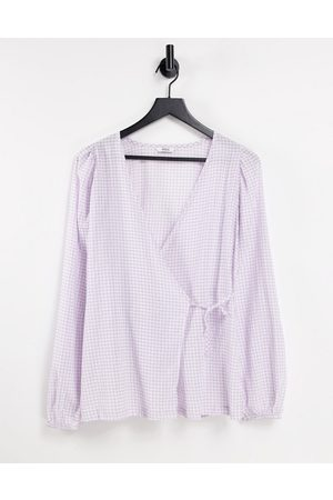 Envii Sage wrap shirt co-ord in lilac check-Purple