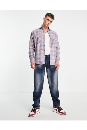 Topman Oversized check shirt in pink