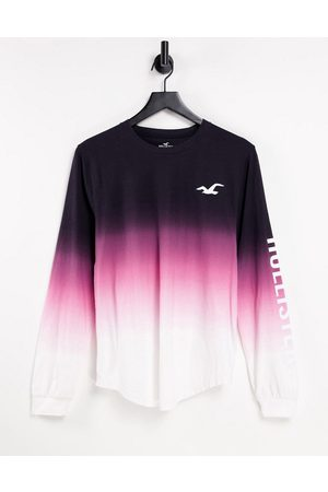 Hollister Icon logo ombre long sleeve top in black/pink/white-Multi