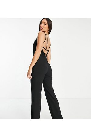Vesper Tall Wide leg jumpsuit with low back in black