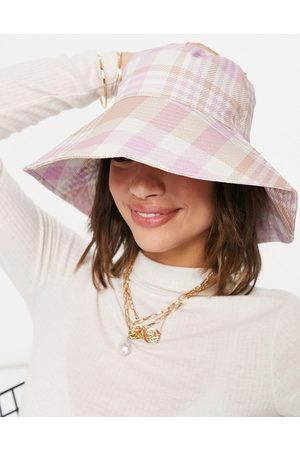 ASOS DESIGN Fisherman bucket hat in pink and camel check-Multi
