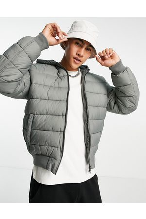 ASOS DESIGN Hooded quilted bomber jacket in grey-Green