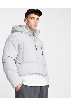 ASOS DESIGN Puffer jacket with hood in grey