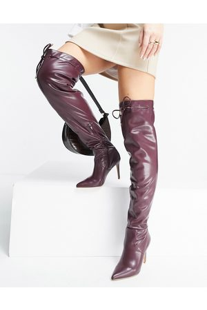 ASOS DESIGN Kempton pull on over the knee boots in burgundy-Red