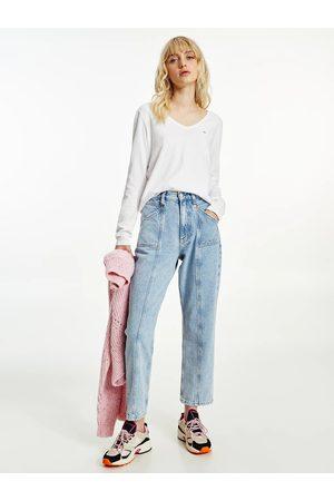 Tommy Jeans Ženy S dlouhým rukávem - Dámské bílé triko LONGSLEEVE