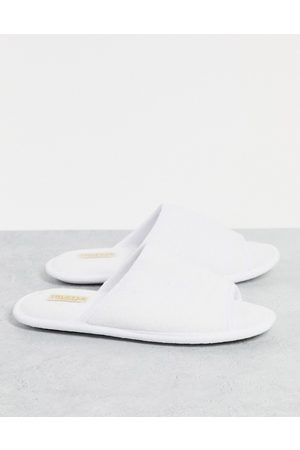 Truffle Collection Muži Pantofle - Waffle slider slippers in white
