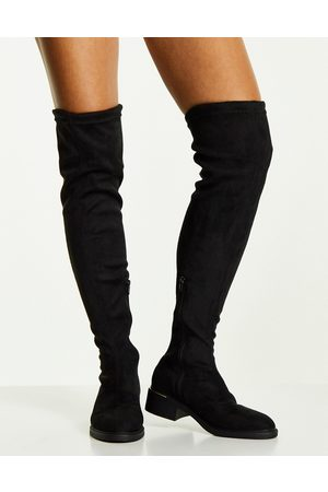 Truffle Collection Ženy Nad kolena - Mid heel stretch over the knee boots in black