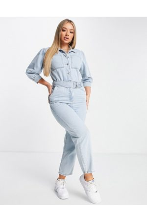 NA-KD Ženy Overaly dlouhé - Puff sleeve jumpsuit in blue