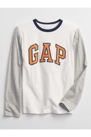 GAP Chlapci S dlouhým rukávem - Bílé klučičí tričko Logo long sleeve t-shirt