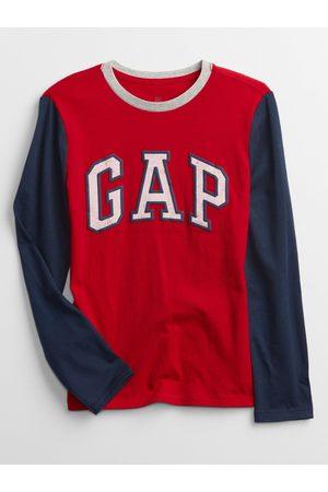 GAP Červené klučičí tričko Logo long sleeve t-shirt