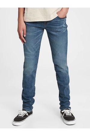 GAP Modré klučičí džíny stacked ankle skinny jeans with stretch