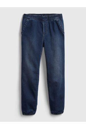 GAP Modré klučičí džíny lined denim joggers
