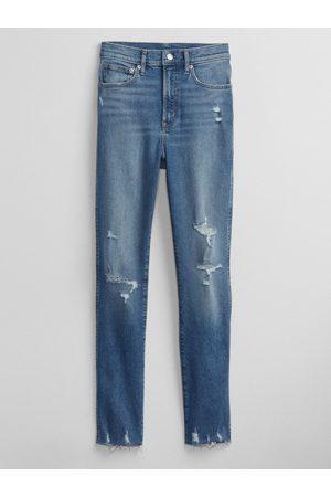 GAP Ženy S vysokým pasem - Modré dámské džíny high rise cigarette