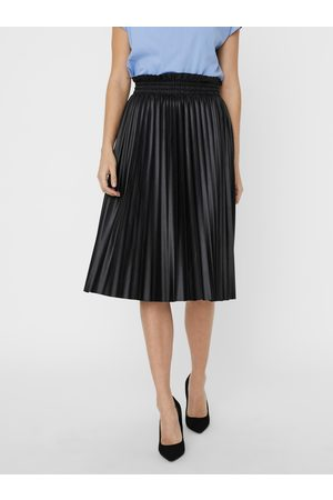 VERO MODA Černá plisovaná koženková sukně Nellie