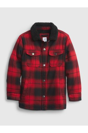 GAP Červená klučičí bunda buff pleed shirt jacket
