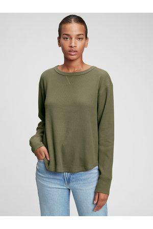 GAP Zelené dámské tričko s dlouhým rukávem