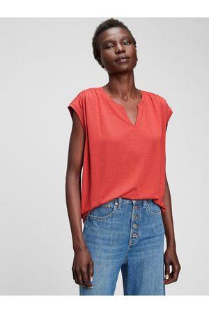 GAP Červené dámské tričko short sleeve zen neck