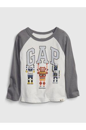 GAP Chlapci Trička - Bílé klučičí tričko Logo robots t-shirt