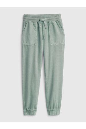 GAP Dívky Teplakovka - Zelené holčičí kalhoty woven jogger