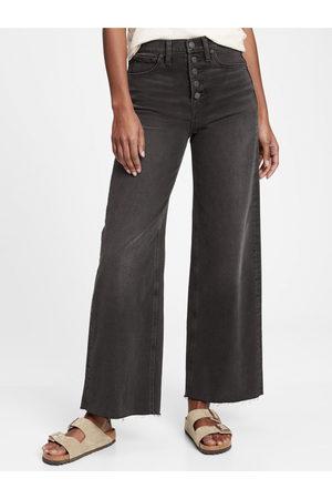 GAP Černé dámské džíny wide leg black fairfax