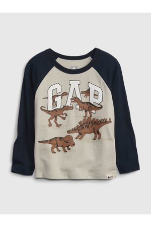 GAP Chlapci Trička - Béžové klučičí tričko Logo dinosaurian t-shirt