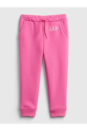GAP Růžové holčičí tepláky Logo fleece joggers