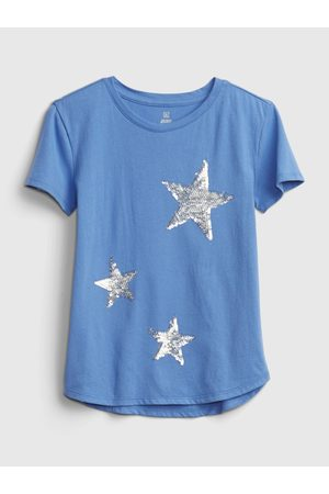 GAP Modré holčičí tričko short sleeve interactive graphic t-shirt