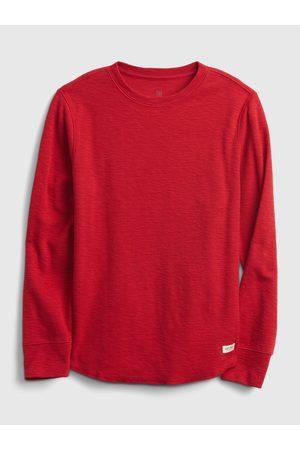 GAP Červené klučičí tričko long sleeve texture crew
