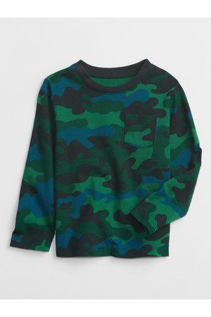 GAP Zelené klučičí tričko long sleeve print t-shirt
