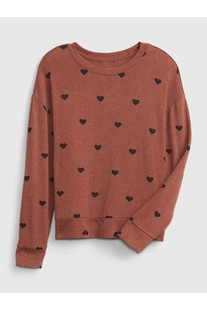 GAP Dívky S dlouhým rukávem - Hnědé holčičí tričko snit cross back top