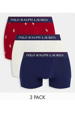 Polo Ralph Lauren Muži Ponožky - 3 pack trunks with text logo waistband in navy/ red gold all over pony logo/cream-Multi