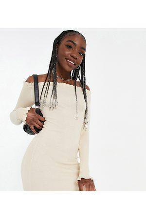 Threadbare Tall Brooke ribbed bardot fitted dress with frilled edges in sand-Neutral