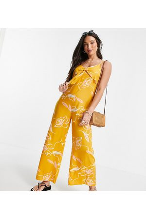 Violet Romance Tall Tie front culotte jumpsuit in shadow floral print-Yellow