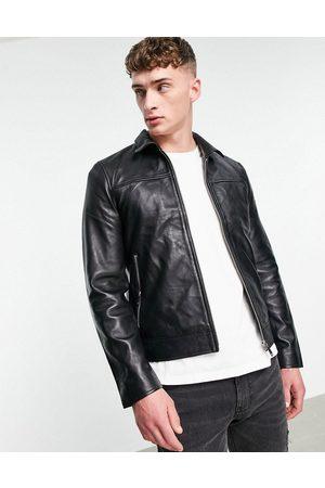 Bolongaro Trevor Muži Kožené bundy - Slim fit leather jacket-Black