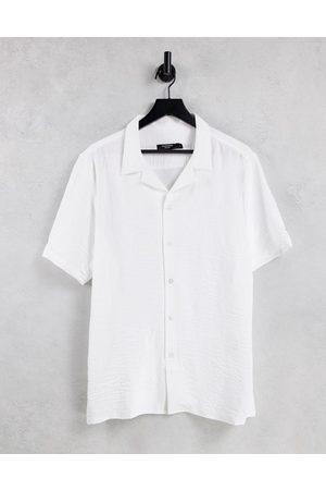 Bolongaro Trevor Crepe slim fit revere collar short sleeve shirt-White