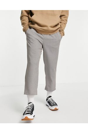 Vintage Supply Muži Chino - Casual woven check trousers in brown
