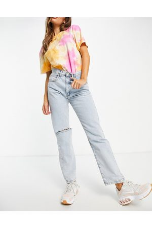 Cotton:On Ženy Boyfriend - Dad jeans with ripped knees in bleach wash-Blue