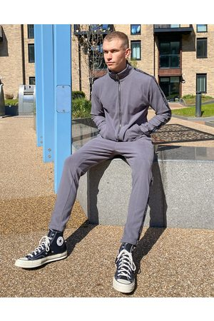 Mauvais Muži Tepláky - Rib track joggers with tape in grey-Green