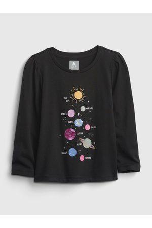 GAP Černé holčičí tričko long sleeve graphic t-shirt