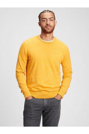 GAP Žlutý pánský svetr everyday crewneck sweater
