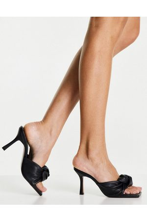 ASOS DESIGN Harlie knotted mid heeled mules in black