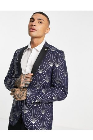 Twisted Tailor Muži Saka - Suit jacket in navy with silver foil geometric print