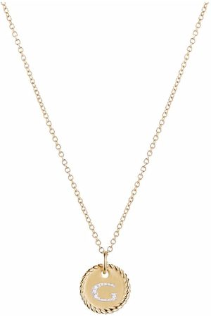 David Yurman 18kt yellow gold Initial G diamond charm necklace