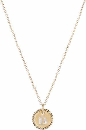 David Yurman 18kt yellow gold Initial B diamond charm necklace